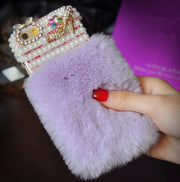 Bling Crystal Diamond Luxury Rabbit Fur Furry Warm Case Cover For IPhone X XR XS MAX 6 7 8 PLUS For Samsung S8 S9 S7edge N8 N9