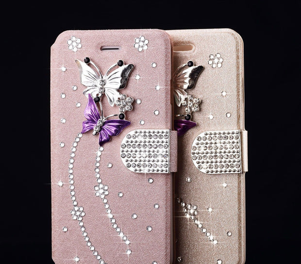Bling Diamond Magnetic Wallet Leather Flip Case Cover For Apple Iphone 7 7Plus 6 6S Plus 5 5S Samsung Galaxy S7 S7EDGE S6 S6EDGE