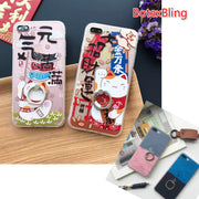 BotexBling Art Cute Cartoon Luck Cat Rotating Ring Stents Phone Case For IPhone X 8 8plus 7 7plus 6 6s Plus 6plus Cover Couple