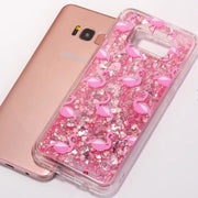 BotexBling Glitter Flamingo Quicksand Case For Samsung Galaxy S8 S8plus S7 Edge Shinning Love Heart Soft TPU+ PC Case Cover