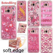 BotexBling Glitter Flowers Cute Flamingo Liquid Quicksand Soft TPU Case For Samsung Galaxy S8 S8plus S7 S7Edge Case Girl Cover