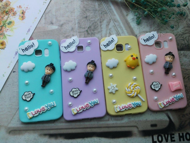 BotexBling Korea Cartoon Cute DIY Candy Case For Samsung Galaxy S6 Edge Plus S7edge N5 N4 S8 Plus 2016 A3 A5 A7 Soft Silicone S9