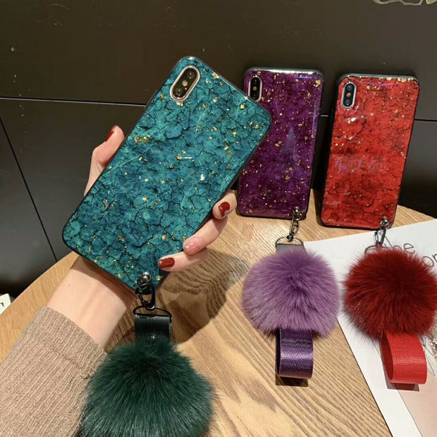 BotexBling Luxury Marble Bracelet Glitter Chain Phone Case For Iphone XS MAX Case 8 8plus 7 7plus 6s Plus 6plus For Iphone X XR