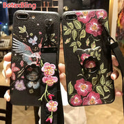BotexBling Luxury Rose Potted TPU Thin Leather Case For Iphone XS MAX Case XR X 8 7 7plus 6 6S 8 Plus Strap Girl Cover Lanyard