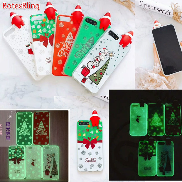 BotexBling Merry Christmas Fluorescence Luminous Soft TPU Silicone Cover Case For Iphone X 8 8plus 7 7plus 6 6s Plus 6plus Gift