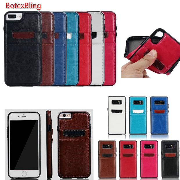 BotexBling Simple Dual Card Slot Color Leather Case For Iphone X Case 8 8Plus 6 6splus 7plus Cover Pocket Wallet S8 S7 S8Plus N8