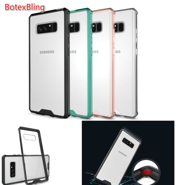 BotexBling Simple Transparent Seismic Drop Resistance Armor TPU Soft Edge + PC Case For Samsung Galaxy NOTE 8 Case Clean Cover