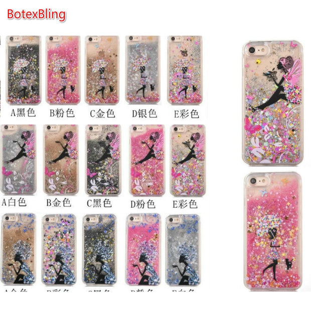 BotexBling Butterfly Shopping Umbrella Girl Liquid Stars Quicksand Case For Iphone 7 7plus 8 8plus Cases Hard Hard Cover