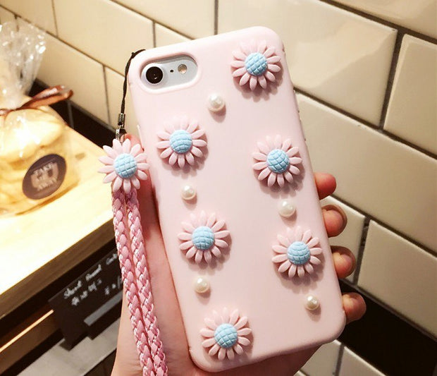 BotexBling Cute 3D DIY Sunflower Soft PU Silicone Cover Case For Iphone X Case 8 8plus 7 7plus 6 6s Plus 6plus Lanyard XS MAX XR