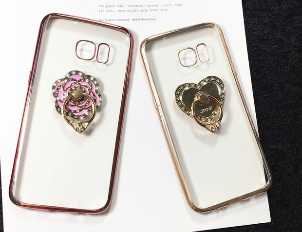 BotexBling Cute Transparent Mirror Soft TPU Rose Cover For Samsung Galaxy S8 S8plus N5 N4 N3 S4 S5 S6 Edge Plus S7 Edge Cases