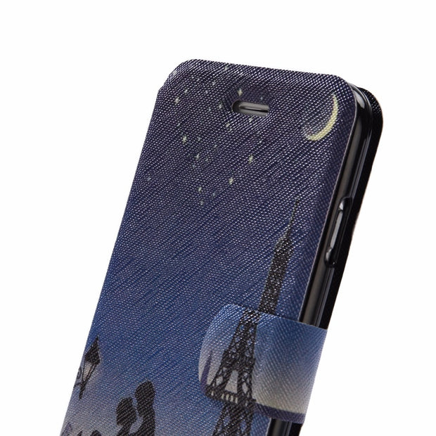 BotexBling Paint Geometric Lattice Thin Flip Leather Case For Iphone 7 7plus 8 8plus 6 6s Plus 6plus 5s Se Cover Tower Card Slot