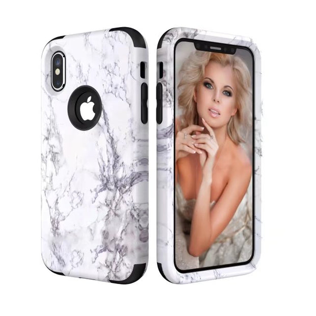 Brand Heavy Duty Case For Iphone X 8 7 6 6S Plus 5 5s Se Samsung Galaxy Note 8 Marble Marbling Hybrid Case Cover Cases Protector