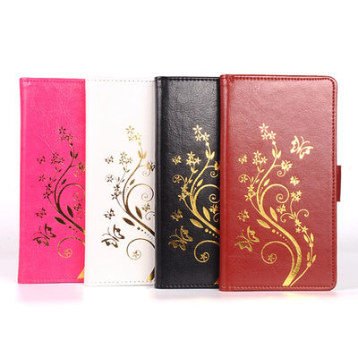 Brand HongBaiwei Gold Buttery Flower Printed Leather Case For Oukitel K6000 Pro Case Flip Cover Housing Stand Cellphone Cover
