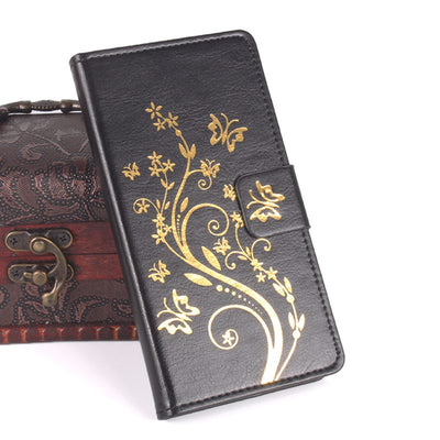 Brand HongBaiwei Gold Buttery Flower Printed Leather Case For Oukitel U7 U 7 Case Flip Cover Housing Stand Cellphone Cover