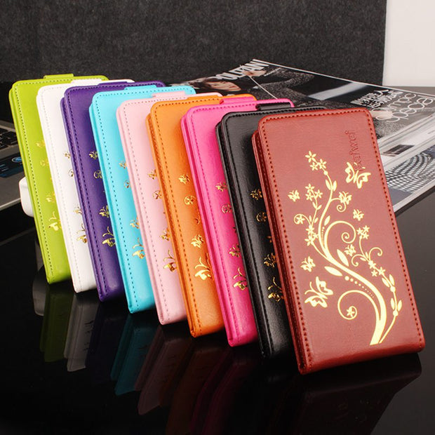 Brand HongBaiwei Golden Flower For Oukitel U2 Case Luxury Leather Up-down Flip Case For Oukitel U2 Cover In Stock Fashion