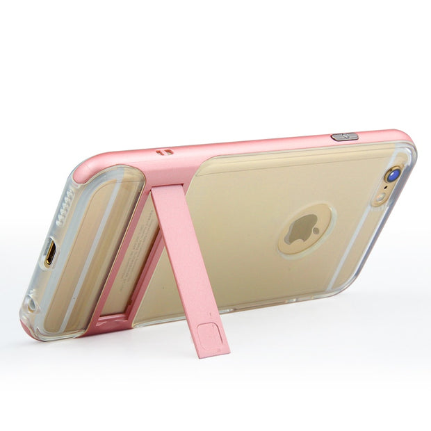 Brand New 3D Kickstand Phone Case For Apple IPhone 6, PC +TPU Ultra-thin Transparent Back Cover For IPhone 6S Phone Shell 4.7""