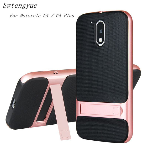 "Brand New 3D Kickstand Phone Case For Moto G4 5.5"", PC +TPU Ultra-thin Luxury Back Cover For Motorola Moto G4 Plus Phone Shell"