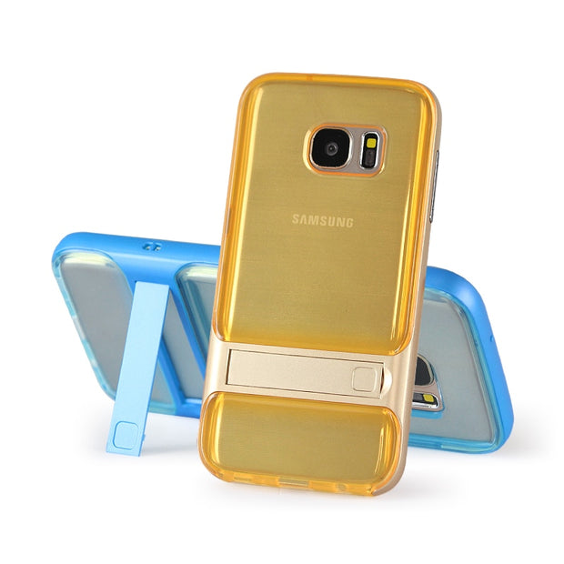 Brand New 3D Kickstand Phone Case For Samsung S7, PC +TPU Ultra-thin Transparent Back Cover For Samsung Galaxy S7 Phone Shell