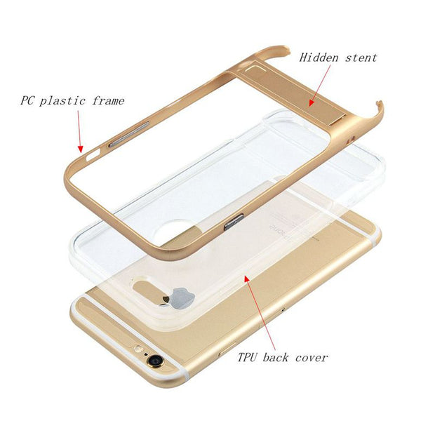 "Brand New 3D Kickstand Phone Case For IPhone 7 4.7"", PC +TPU Ultra-thin Transparent Back Cover For IPhone 7Plus 5.5"" Phone Shell"