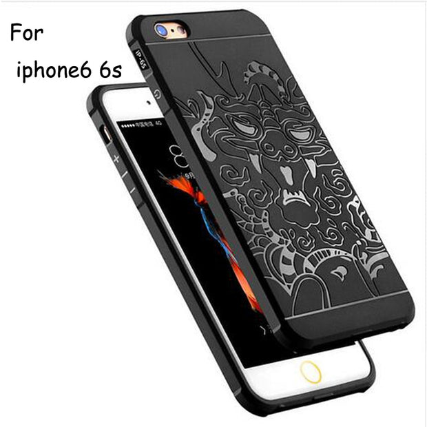 Brand New For Iphone 6 Case Silicon Original IPhone 6s Luxury Cover 3D Carved Dragons Frosted Mobile Phone Shell Cases High-qual