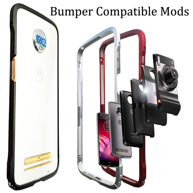separation shoes 715c4 669cb Bumper Case For Motorola Moto Z3 Play Z2 Play Z2 Force Compatible Moto Mods  Aluminum Metal Frame Bumper Cover Shockproof