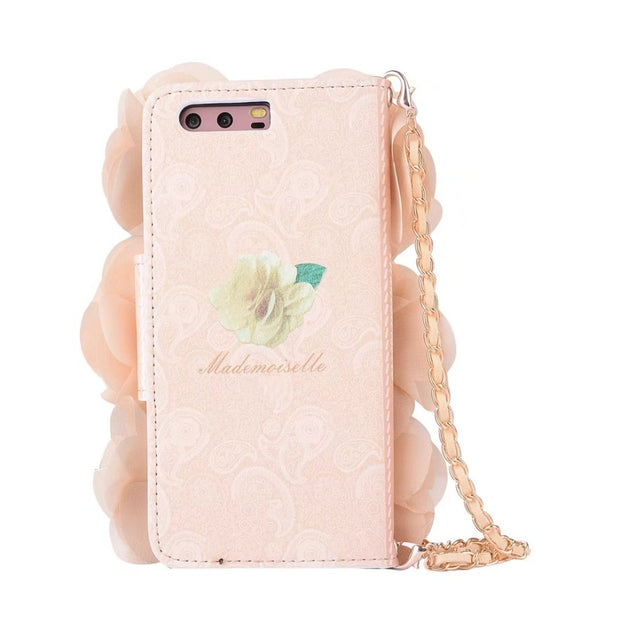 BuzzLee Pearl Pink Rose Flower PU Leather Handbag Flip Wallet Phone Case For Huawei P9 Plus P9 P10 Plus P10 For Xiaomi Mi6 Cover
