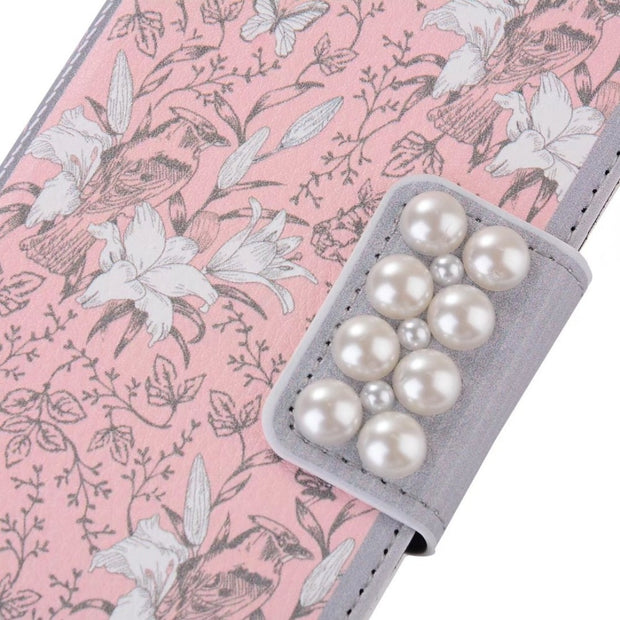 BuzzLee Retro Pearl Pink Flower PU Leather Handbag Flip Wallet Case For Huawei P9 Plus P9 P10 Plus P10 For Xiaomi Mi6 Cover