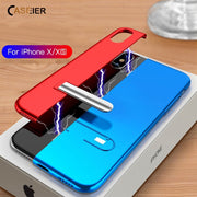 CASEIER Magnetic Holder Phone Case For IPhone X XS Max XR Metal Color Stitching Metal Cover Case For IPhone 7 8 Plus 6 6s Coque