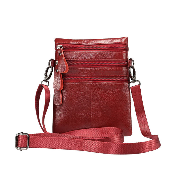 CHEZVOUS 100% Genuine Leather Men Women Crossbody Bag Mobile Phone Pouch Shoulder Bags For Iphone5 5s/6 6s 7 Plus 8 Case Fashion