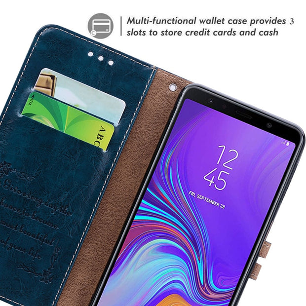 CHOEOIWE Flip Cases Covers For Samsung Galaxy A7 2018 A750 SM-A750F A750F Leather Wallet Case Card Slot Business Cover Coque