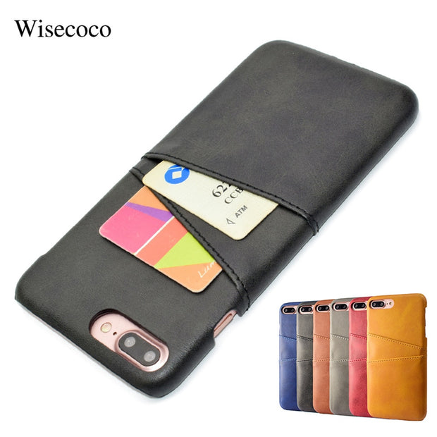 brand new c382c dc500 Card Holder Slots Wallet Phone Cases For Iphone 7 8 Plus Luxury Leather  Slim Protective Hard Back Cover Case 7plus 8plus Coque