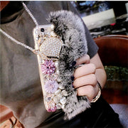 Case For Huawei Honor 7X 9 10 P9 P10 P20 Lite Plus Mate 9 10 Cute Soft Fluffy Rabbit Fur Hair Bling Diamond TPU Protective Phone