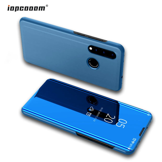 "Case For Huawei Nova 4 Cover 6.4"" Luxury Smart Mirror View Flip Leather Full Cover Case For Huawei Nova 4 Phone Shell Couqe"