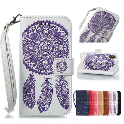 Case For IPhone X 4s 5c 5s SE 6 7 8 6s Plus XR XS Max Embossed Dream Catcher Bling Rhinestone PU Leather Flip Wallet Card Holder