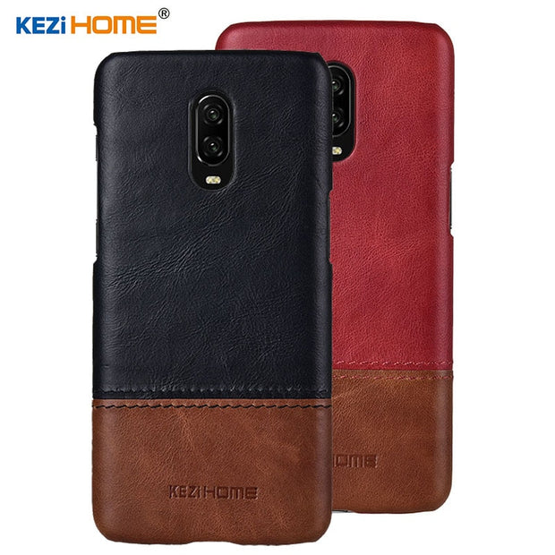 Case For Oneplus 6T KEZiHOME Luxury Hit Color Genuine Leather Hard Back Cover Capa For Oneplus 6T 1+6T 6.41'' Phone Cases