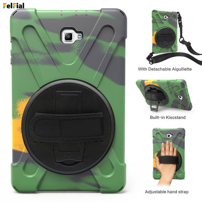 Case For Samsung Tab A10.1 T580 Cover Shockproof Hybrid Heavy Duty Armor Defender Protective Shell Hand Strap+Shoulder Strap