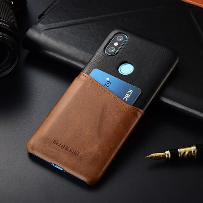 Case For Xiaomi Mi Max 3 KEZiHOME Two Colors Genuine Leather Hard Back Cover For Xiaomi Mi Max3 With Card Pocket