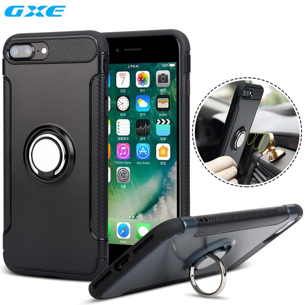 Case For IPhone 7 Plus 6 6s Car Holder Stand Magnetic Suction Bracket Finger Ring TPU + PC Cover For Samsung Galaxy S8+ S8 Plus