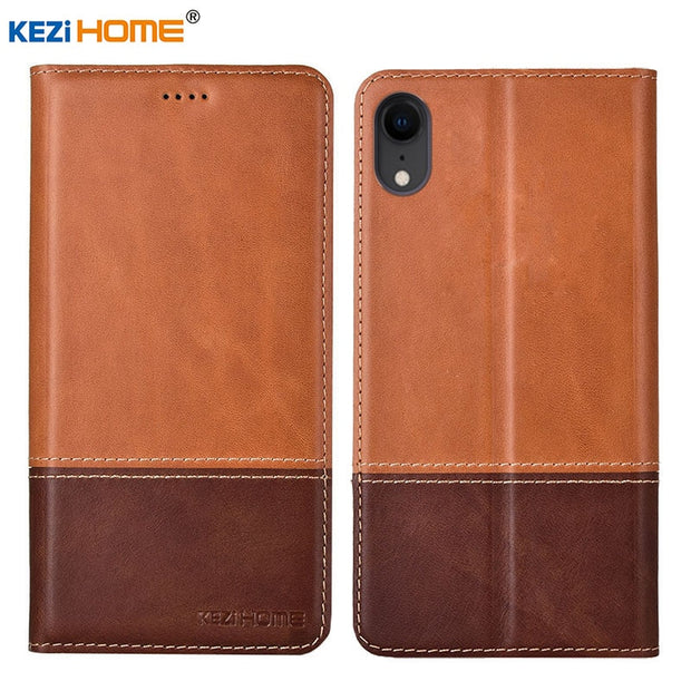 Case For Iphone XR KEZiHOME Double Colors Genuine Leather Flip Wallet Cover For Iphone Xr Phone Cases