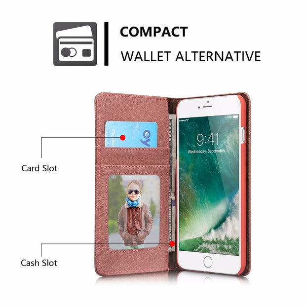CaseMe Canvas Case For Iphone 7 Plus 5.5'' Card Slots Stand Magnetic Auto Flip Cowboy Wallet Case For IPhone 7 Leather Cover