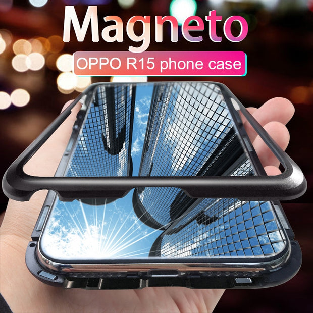 Clear Tempered Glass Case For OPPO R15 Phone Cases Metal Bumper Magnetic Back Cover For OPPO R15 Capa Hard Anti-Scratch Coque