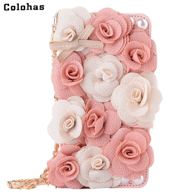 Colohas 3D Rose Pink Peony Cloth Flower Rosette Flip Wallet Leather Case Cover For Huawei P9 P10 Plus Strap Banquet Wallet Bag