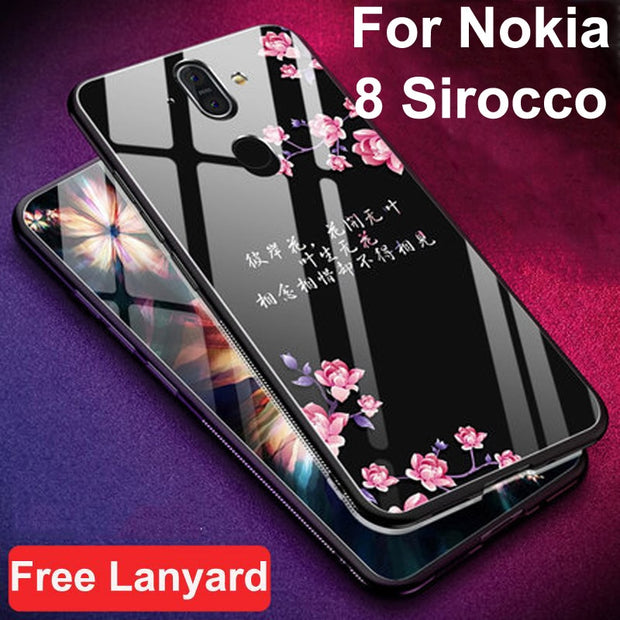 Coque For Nokia 8 Sirocco Case Luxury Tempered Glass + Soft Edge Cover For Nokia8 Sirocco Glass 8sirocco TA-1042 Cases Shell