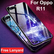 Coque For Oppo R11 Case Luxury Tempered Glass + Soft Edge Cover 6.01'' For Oppo R 11 Glass Case Oppor11 Cases Phone Shell