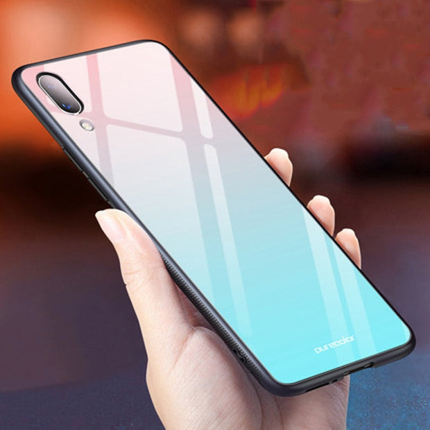 Coque For Vivo X21 Case Gradient Tempered Glass + Soft Edge Cover For Vivo X 21 Dream Glass Case Vivox21 X21UDA Cases Shell