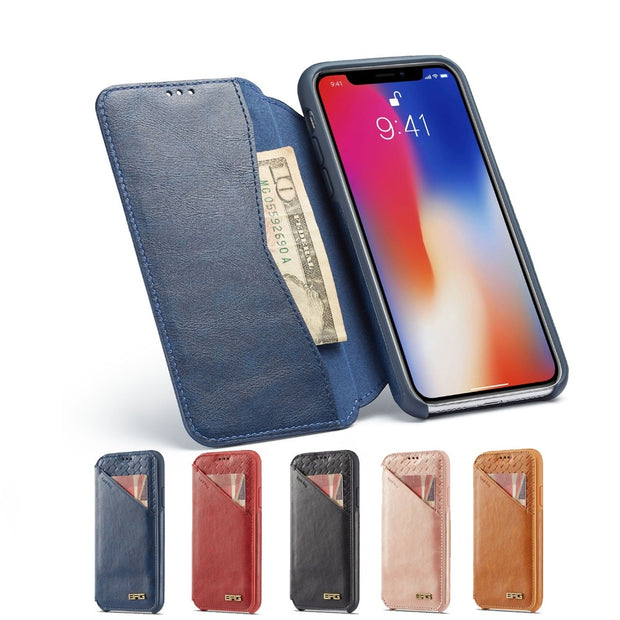 Coque For Apple Iphone 5 5s SE 7 8 6S 6 Plus X XR XS Max Case Luxury Wallet Leather Phone Cover Case Fundas Cards Slots Holder