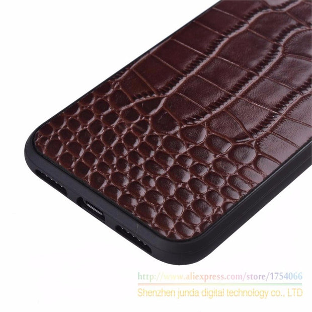 Crocodile Texture Totally Protection Leather Protective Back Cover Case For Apple IPhone X Luxury Phone Cover For Apple IPhoneX