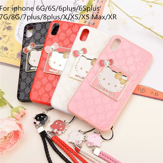 4a9974845 Cute Cartoon Mirror Hello Kitty Phone Case For Iphone X XS Max XR Case For  Iphone