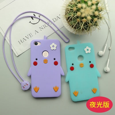 Cute Cartoon Cover For Xiaomi Redmi Note5a Case Soft Silicone Phone For Redmi Note 5A Pro Cases Yellow Pink Chick Girl Long Rope