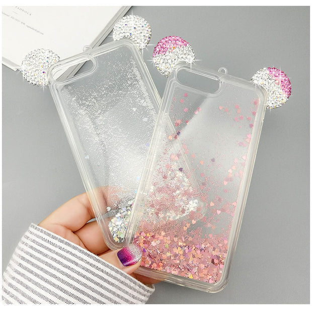 Cute Ears Shiny Phone Cases For Iphone8 6 6s 7 Case Fundas Back For IPhone 7Plus 8Plus 6 6SPlus Quicksand Phone Cover